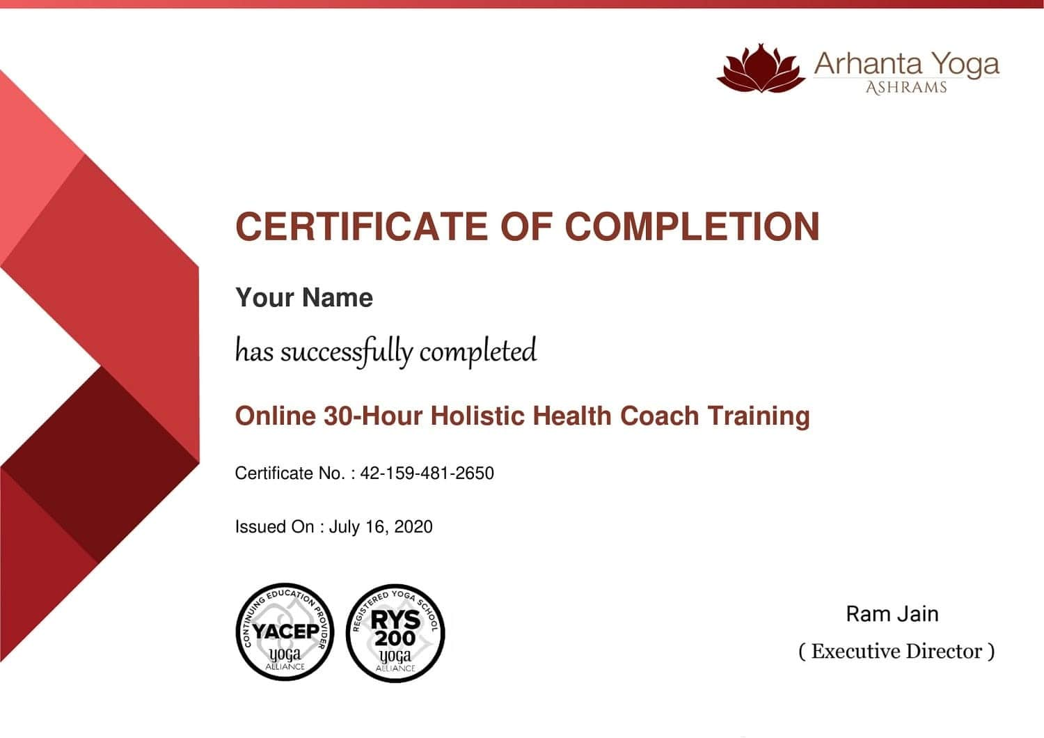 Holistic Health Couch Training Certificate